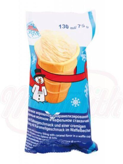 IJs met gekookte gecondenseerde melk in een wafel cup 130 ml