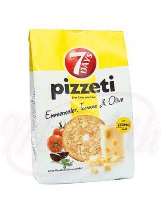 Pizzeti met Emmentaler, tomaten en olijven