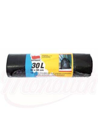 Vuilniszak met trekband, zwart 50 x 60cm, 30L, 15 st.