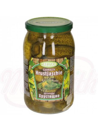 Ingelegde komkommers Hrustjaschie met dille, 860 g
